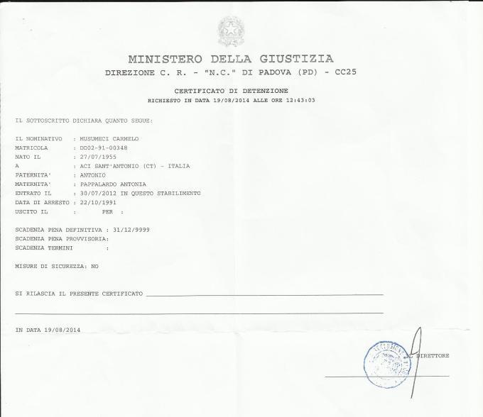 Certificato di detenzione
