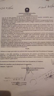 Decreto Magistrato Sorveglianza Catanzaro Reclamo Macrì